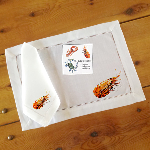 Hemstitch Place Mats & Napkins - Set of Six, Assorted Seafood (crab, shrimp, lobster)