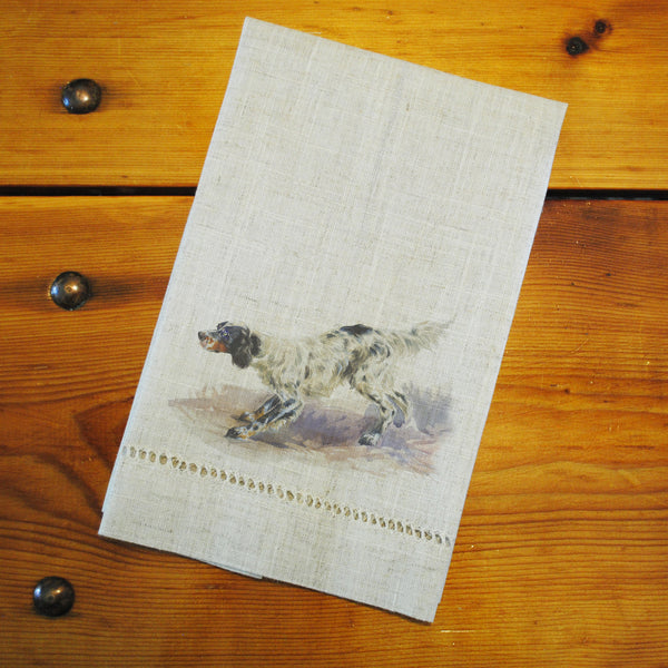 "Hemstitched ""Linen"" Tea Towel - English Setter"