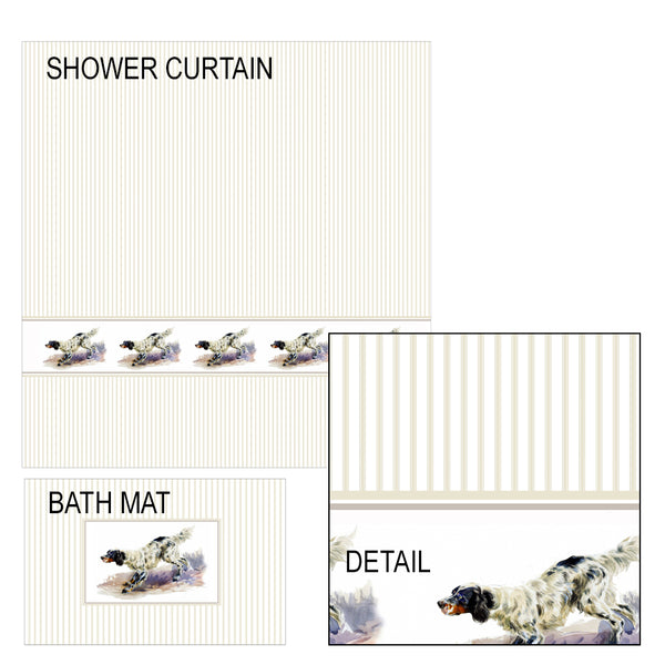 English Setter Shower Curtain and Bath Mat