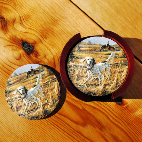 English Setter and Bobwhite Quail Sandstone Coasters in Wood Rack