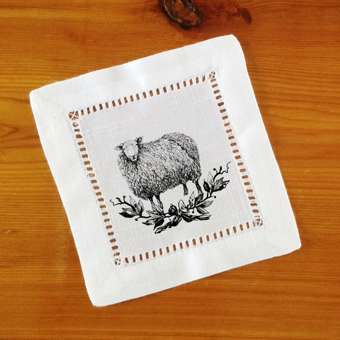White Hemstitch Cocktail Napkins- Set of Four Farmhouse Animals