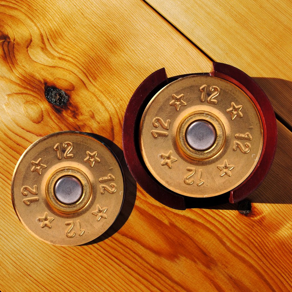 12 Gauge Sandstone Coasters in Wood Rack