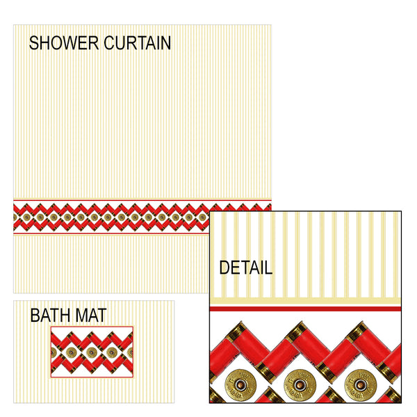 Shotgun Shell Shower Curtain and Bath Mat