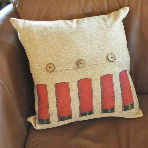 Red Shells Button Throw Pillow Cover