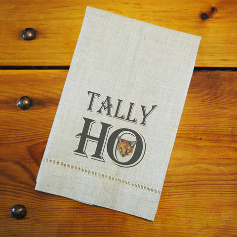 "Hemstitched ""Linen"" Tea Towel - Tally Ho"