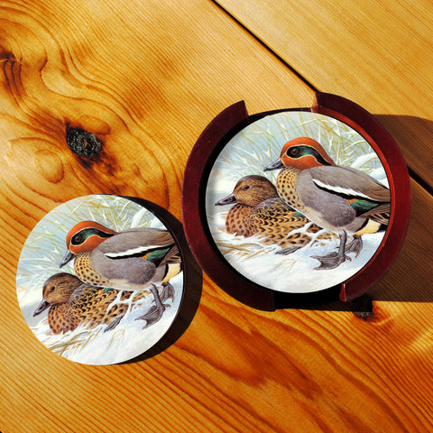 Ducks Sandstone Coasters in Wood Rack
