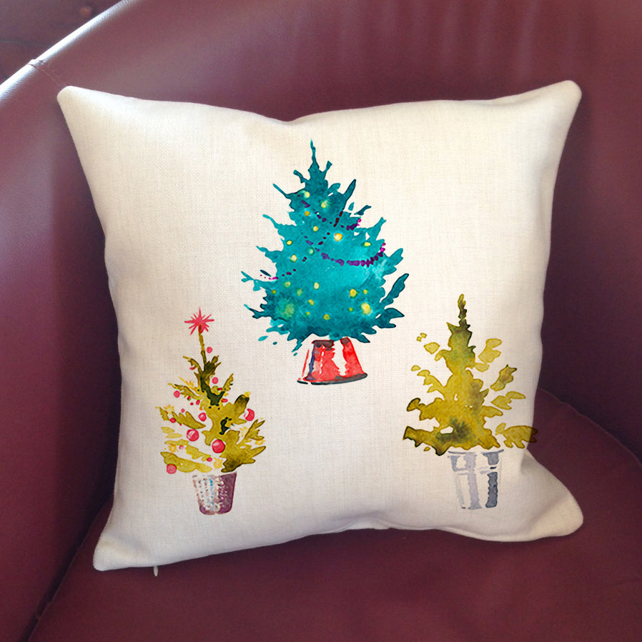 """Linen"" Pillow Cover 16"" - Christmas Tree"