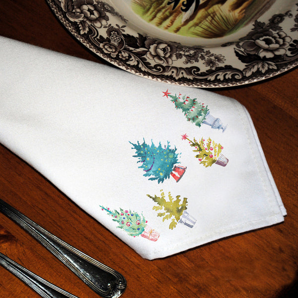 Table Linens, Set of Six - Christmas Trees
