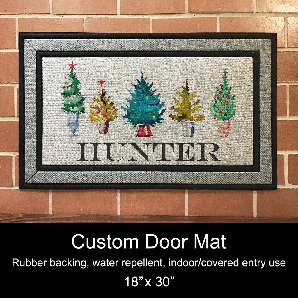 "Door Mat, 18"" x 30"", Custom - Christmas Trees"