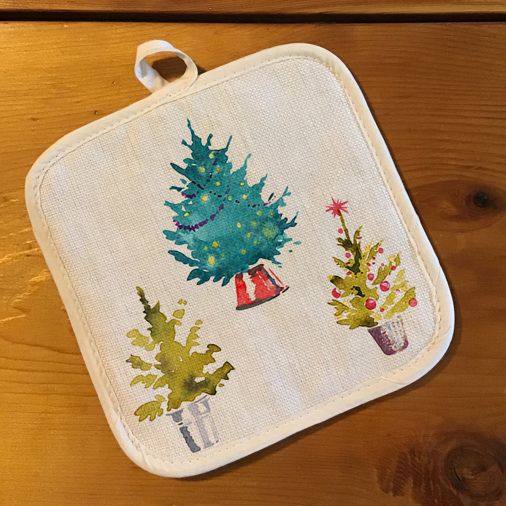 "Pot Holder, Natural Color ""Linen"" - Christmas Trees"