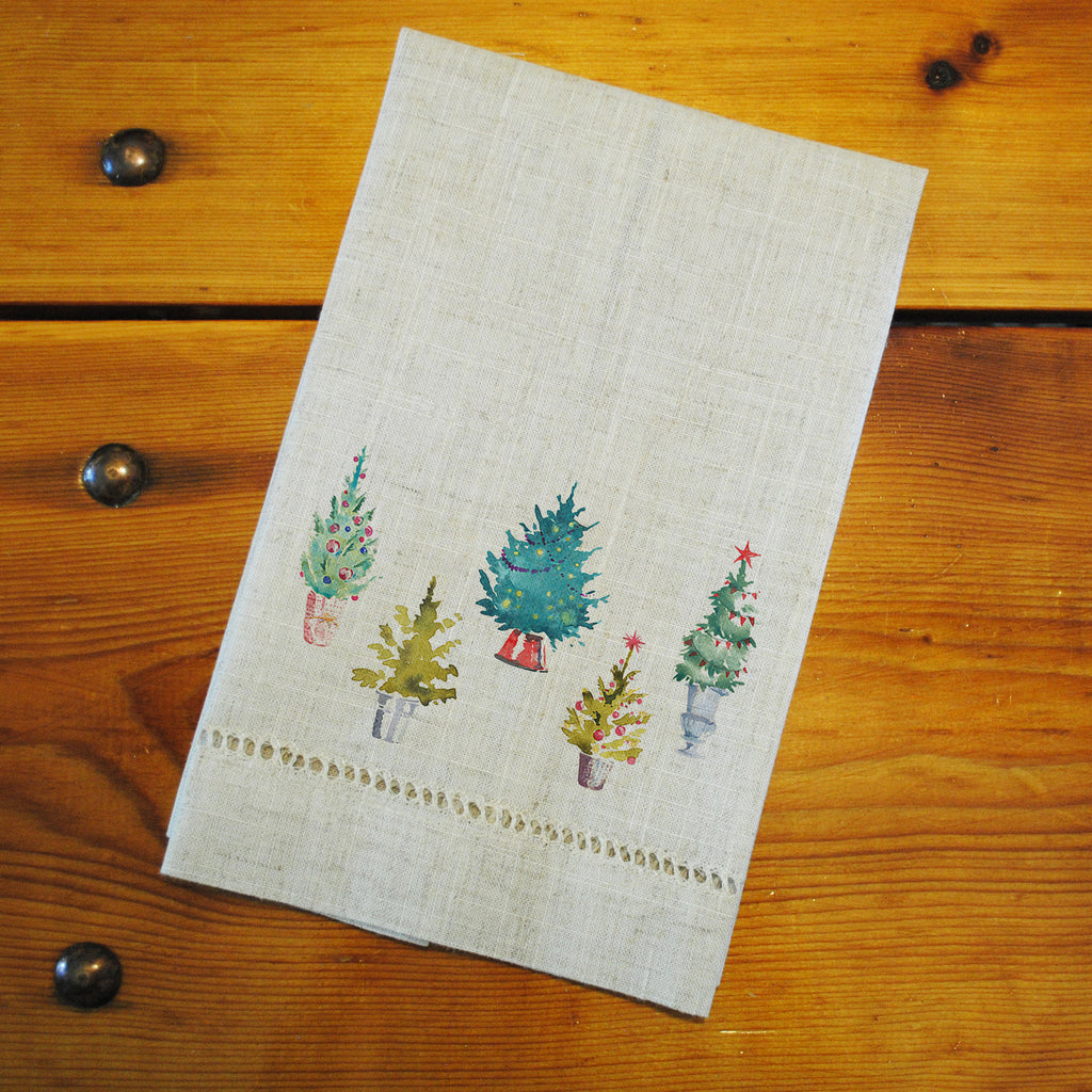 "Hemstitched ""Linen"" Tea Towel - Christmas Trees"