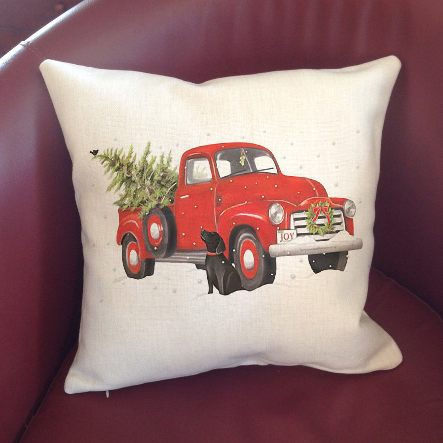 """Linen"" Pillow Cover 16"" - Truck & Lab"