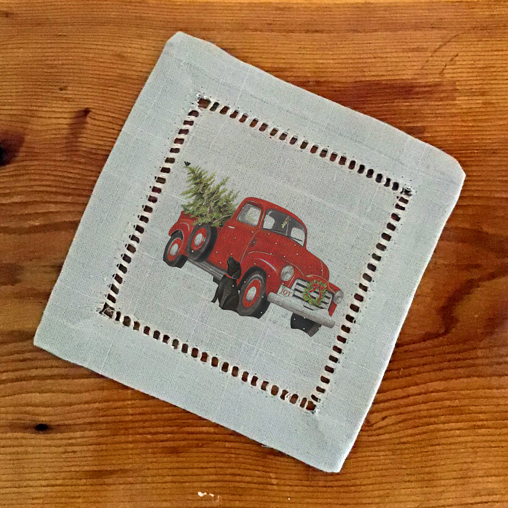 Hemstitch Cocktail Napkins- Set of Six, Truck & Lablab, labrador,