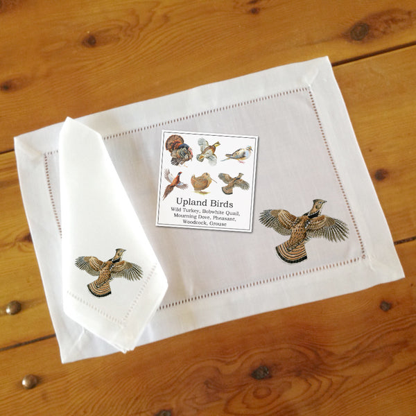Hemstitch Place Mats & Napkins - Set of Six, Assorted Upland Birds