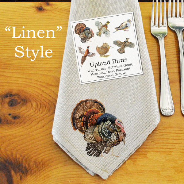 Table Linens, Set of Six - Assorted Upland Birds