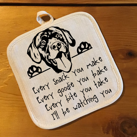 "Pot Holder, Natural Color ""Linen"" - Watching You - Labrador"