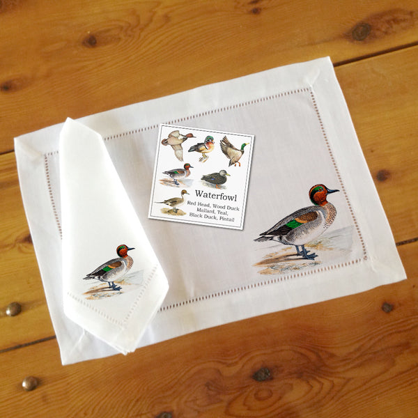 Hemstitch Place Mats & Napkins - Set of Six, Assorted Waterfowl