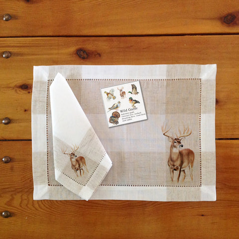 Hemstitch Place Mats & Napkins - Set of Six, Southern Game