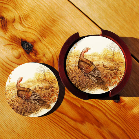 Wild TurkeySandstone Coasters in Wood Rack