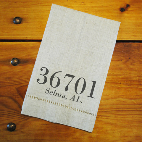 "Hemstitched ""Linen"" Tea Towel - Custom: Your City, State & Zip Code"