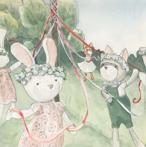 Illustration of Hazel Village animals celebrating May Day