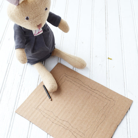 Juliette Rabbit tracing on cardboard for picture frames