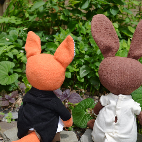 Owen Fox and Juliette Rabbit outside