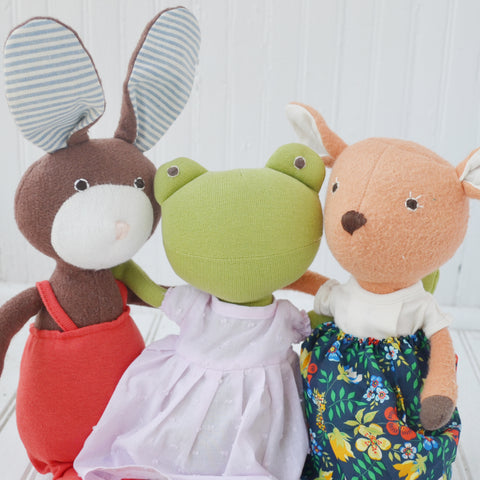 Lucas Rabbit, Ella Toad, and Phoebe Fawn
