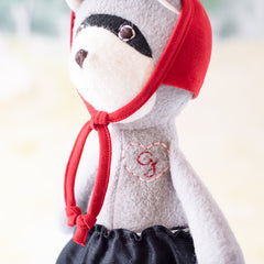 Gwendolyn Raccoon with Red Bonnet and G monogram