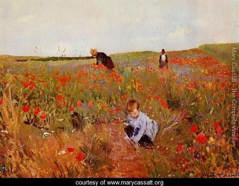 "Painting - ""Picking flowers in a field"" by Mary Cassatt"