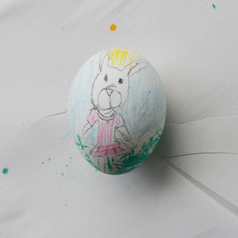 This egg has a portrait of Emma Rabbit