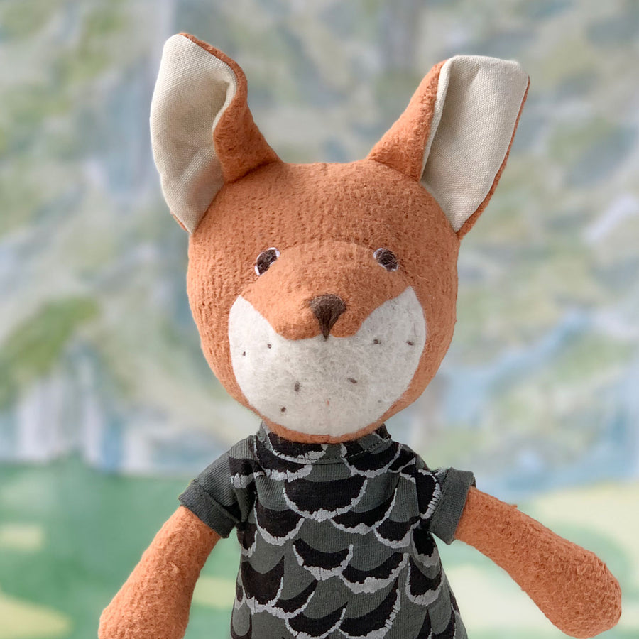 Boy Fox Wearing Adventure Rompers for Dolls in Owl Feathers