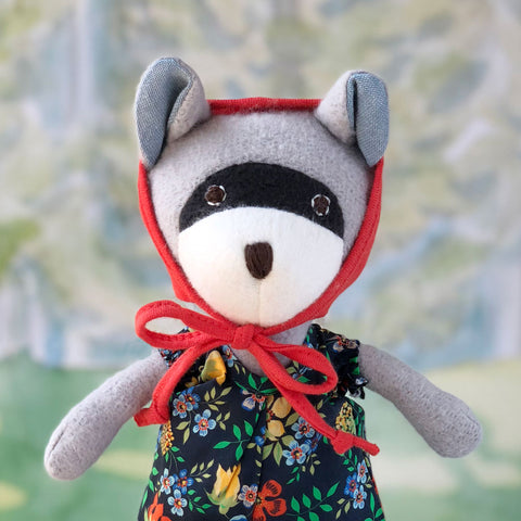 Hazel Village Handmade Organic Cotton Stuffed Animal Gwendolyn Raccoon Doll