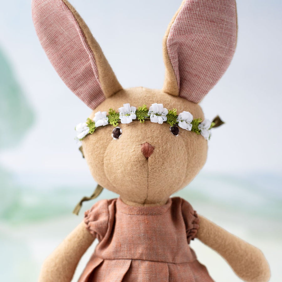 Juliette Rabbit in Clay Linen Dress and Green Flower Crown