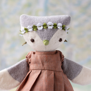 Lucy Owl in Clay Linen Dress and Green Flower Crown