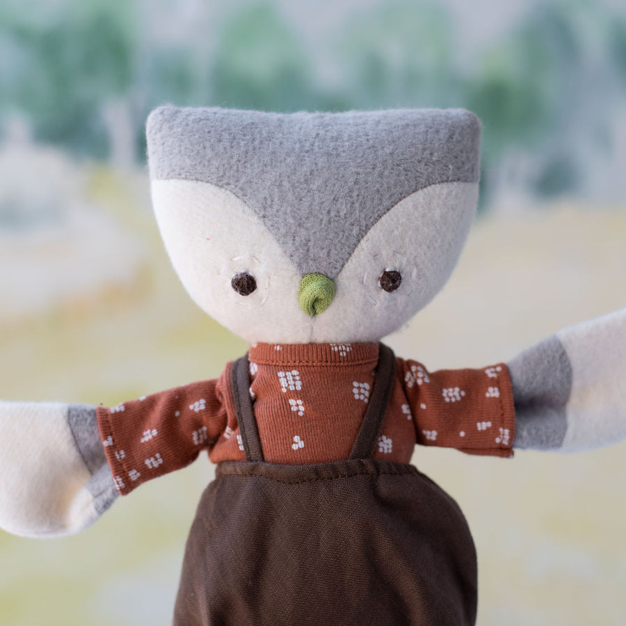 Jeremy Owl in Twig Brown Linen Overalls and Fawn Spots Shirt for Dolls