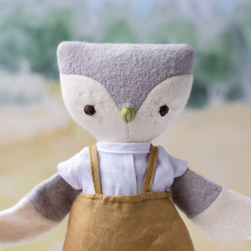 Jeremy Owl in Goldrenrod Linen Overalls and Linen Shirt
