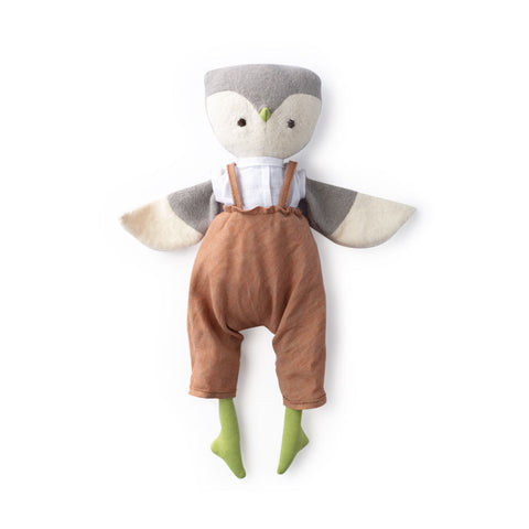 Jeremy owl in clay linen overalls and linen shirt