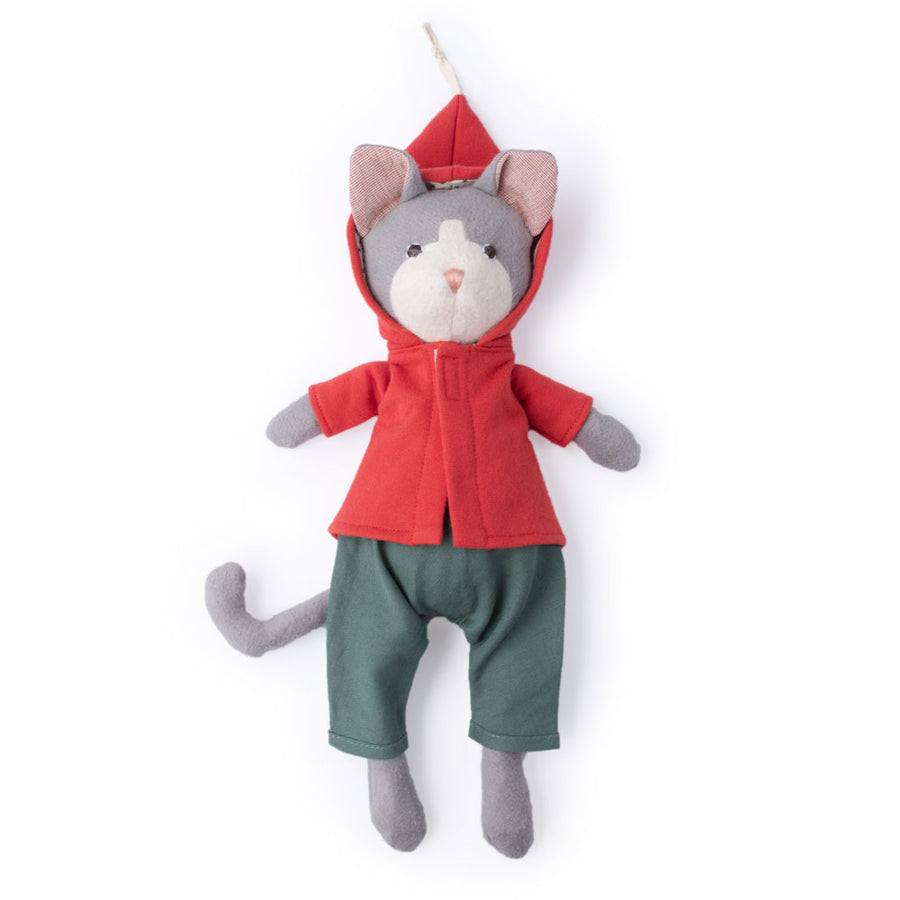 Gracie Cat in cranberry jacket and river green overalls