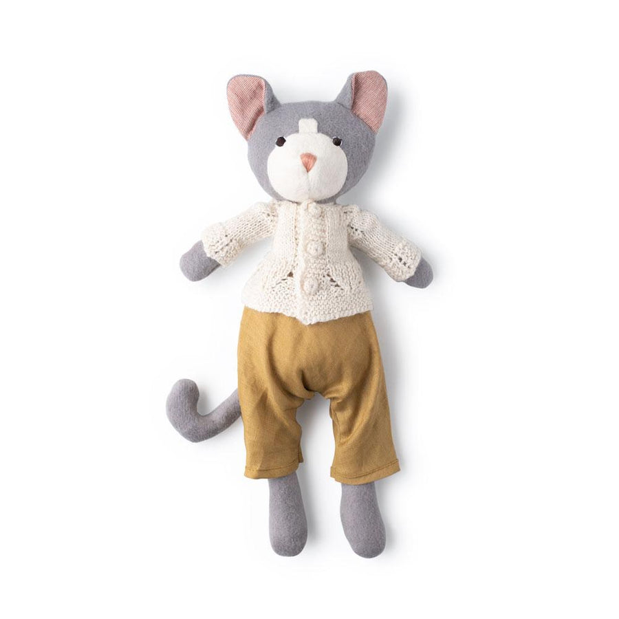 Gracie Cat in Goldrenrod Overalls and Ivory Sweater