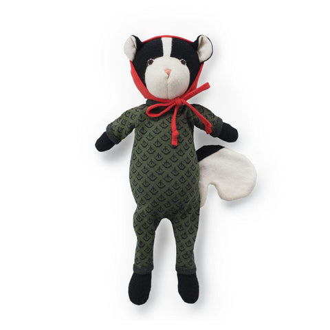 Kit Skunk in Leaf Cover Romper & Red Bonnet