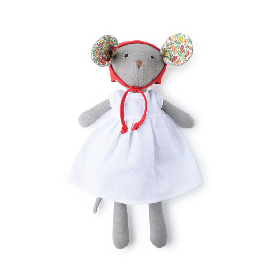Catalina with Daymeadow Liberty Ears - White Linen Dress & Red Bonnet