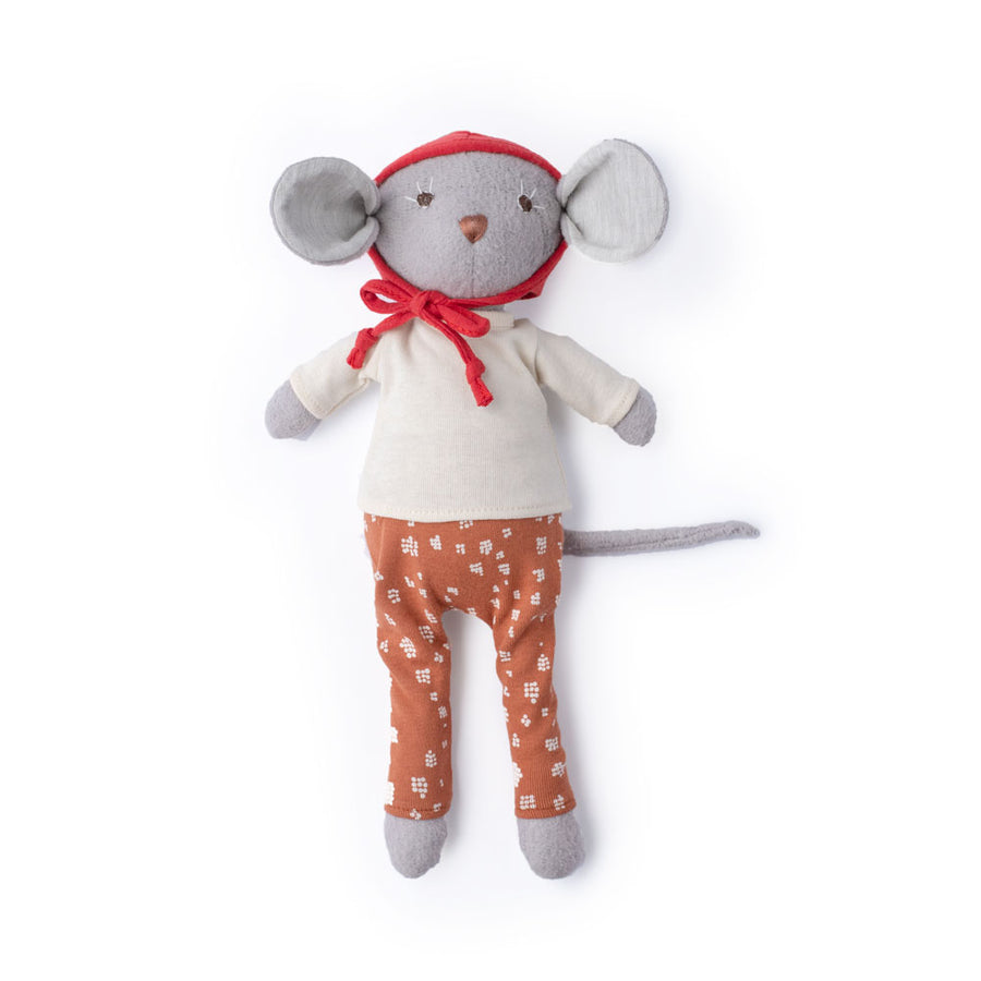 Oliver Mouse in Natural Shirt, Red Bonnet, and Fawn Spots Leggings for Dolls
