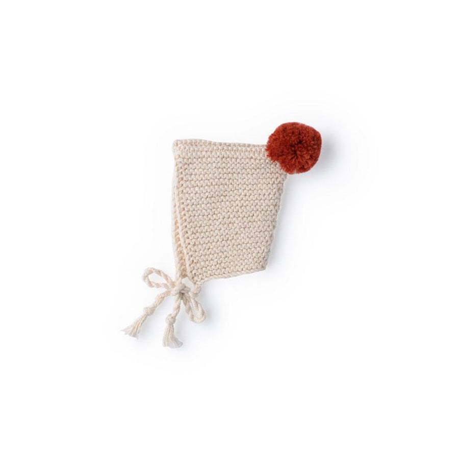 Knit Pom Pom Bonnet for Dolls