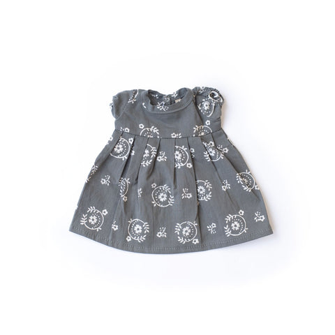 Wood Block Print Dress for Dolls - Wood Anemone