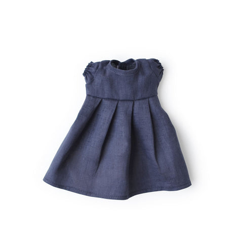 Navy Linen Dress for Dolls