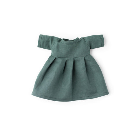 River Green Linen Dress for Dolls