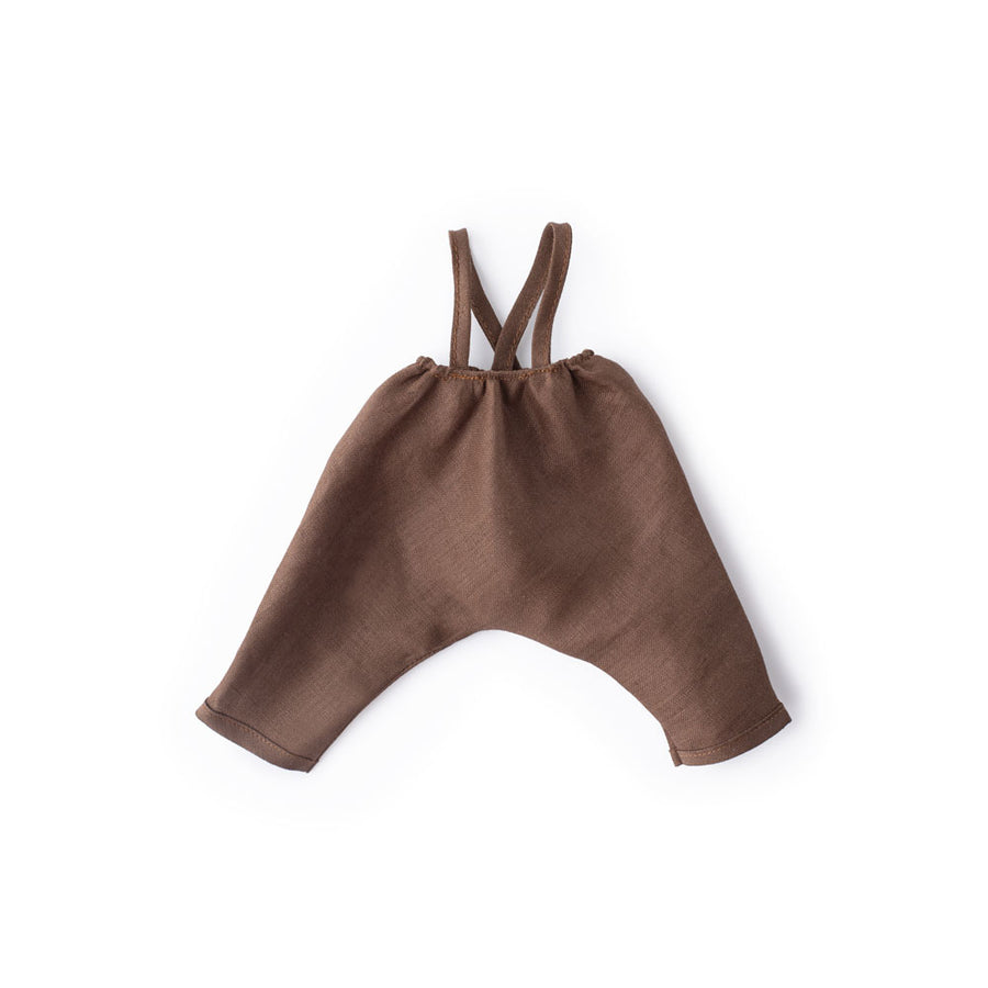 Twig Brown Linen Overalls for Dolls
