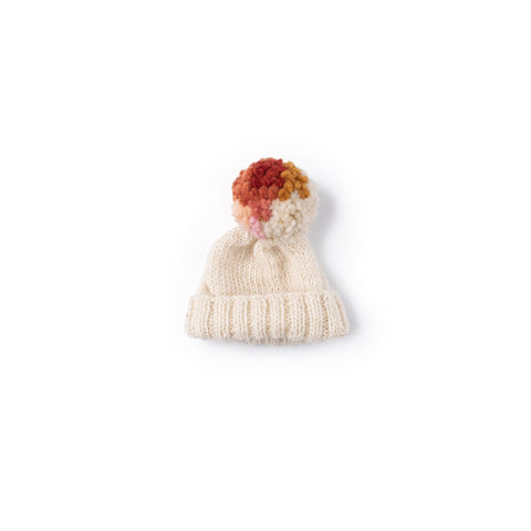 Rosy Dawn Pom Pom Hat for Dolls