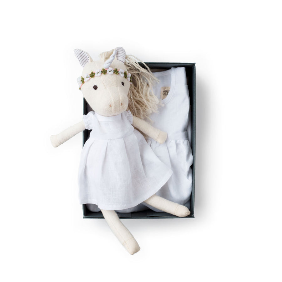 White Linen Dress Set - Peaseblossom Unicorn